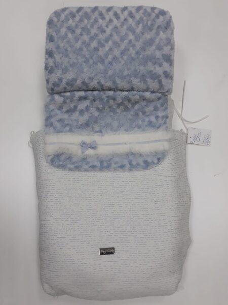 Saco cochecito azul y blanco